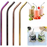 KITCHY 1 Pc Colorful Stainless Steel Drinking Straws Straight And Bent Reusable Filter With Brush DIY Tea Coffee Tools #271574: 8mm Bent Black