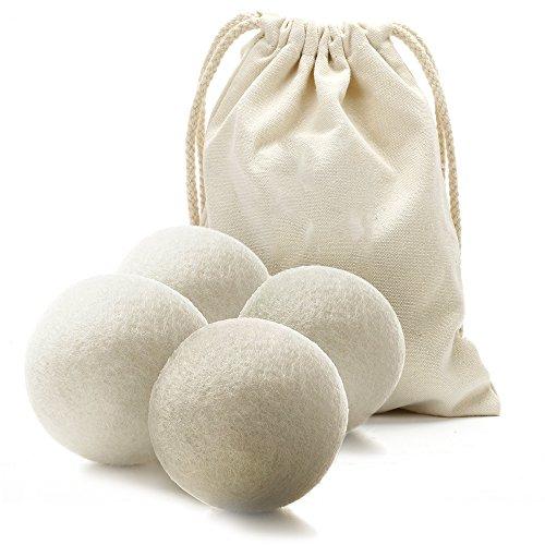Premium Hypoallergen Wolle 100% Handgemachte Trocknerbälle - wiederverwendbare, statische Reduzierung und natürliche Weichspüler Bälle (4 Stück)