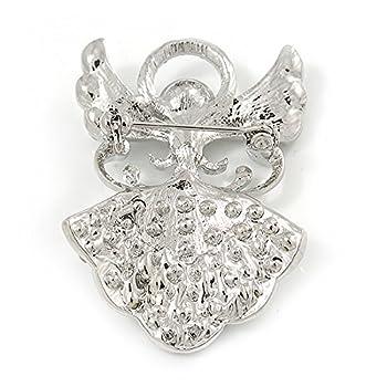 Avalaya Clear Crystal Angel Brooch In Rhodium Plating - 45mm L 3