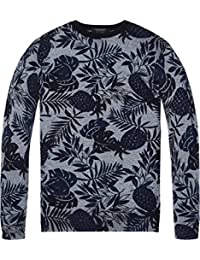 72197c154f24 Scotch   Soda Herren Pullover Classic Cotton Melange Crewneck Pull with  All-Over Pattern