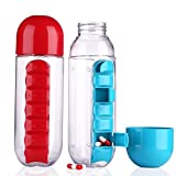 #4: Daily 600ml Pill Box Organizer With Water Bottle Weekly Seven Compartments With Drinking Bottle By ASkyl
