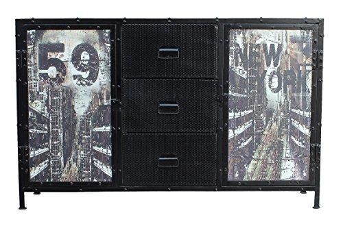 SIT-Möbel 6303-11 (STEEL) Sideboard, Metall, korpus schwarz / front bunt, 40 x 140 x 88 cm