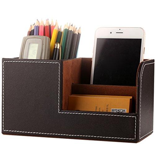 Portapenne da scrivania,porta oggetti, pelle scrivania portapenne, organizer da scrivania, high capacity desktop contenitore mini scatola pen holder 21 cm * 9.5 cm * 9.5 cm marrone