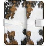 Apple iPhone 7 Tasche Hülle Flip Case Kuh Fell Kuh Look