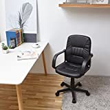 Swivel Office Chair with Medium Back Support,EGGREE(TM) Ergonomic PU Leather Armchair for Home Office School Furnitue Computer Desk - Black