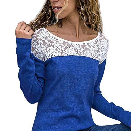 TIFIY Damen Beiläufig Spitze Patchwork Blumen Rüschen Kurzarm Sommer Niedlich Floral Shirt Lose Bluse Top Oktoberfest Herbst Kostüm Sweatshirt Weiß (M, A_d_Blau)