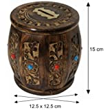 Antique Wooden Handcrafted Money Bank / Dholak Shaped / Perfect Gifts For Kids, Girls, Boys & Adults / 15 X 12.5 X 12.5 Cm