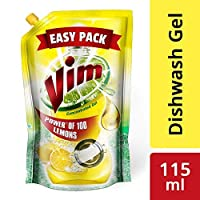 Vim Dishwash Gel, Lemon, 115 ml - Pack of 6
