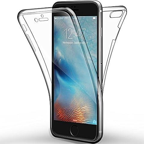 Coque Etui iPhone 6s Plus / 6 Plus, Leathlux Silicone Gel Case Avant et Arrière Intégral Full Protection Cover Transparent TPU Housse Anti-rayures pour iPhone 6s Plus / 6 Plus 5.5