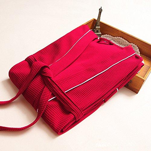 ALICECOCO Abiti da damigella d'onore della camicia da notte della camicia della vita del cravatta di Kimono del cotone delle signore Rosso