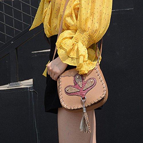 Longra Donna Sacchetti trasversali obliqui della singola spalla delle nappe di modo Cachi