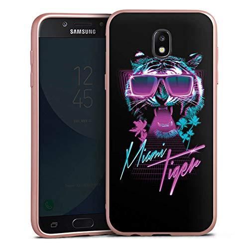 DeinDesign Silikon Hülle Rosé Gold Case Schutzhülle kompatibel mit Samsung Galaxy J5 Duos 2017 Miami Tiger Sonnenbrille