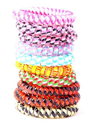 Set de 10 cheveux coloré élastique (plastique en spirale), ruban de cheveux, fil de téléphone, élastiques, accessoires pour cheveux de la marque MyBeautyworld24