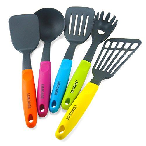 LEMCASE Nylon Küchen Utensilien / Küchenutensilien Set - 5 Stück Kochen Tools Küchenhelfer mit Bunte Silikon Griffe