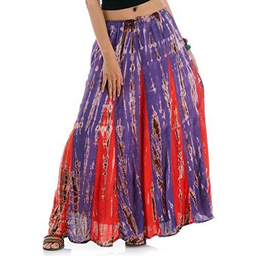 Tribal Kostüm Von Indien - Langer Hippie Batik Gypsy Zigeuner Rock 36 38 40 42 S M (Lila & Rot)