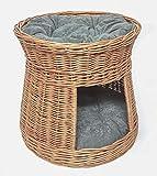 Tigana - Katzenturm mit Schlafplatz + Höhle aus Weide (rund Natur 1F mit Kissen in Grau)