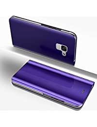 Samsung Galaxy A5 2018 Mirror Case,Samsung Galaxy A5 2018 leather Sleeve Cover,EUWLY Ultra Slim Clear View Mirror Leather Flip Stand Case Cover Shockproof Magnetic Bookstyle Strap Wallet Case Cover with Card Holder for Samsung Galaxy A5 2018 + 1 x Blue Stylus Pen,Purple