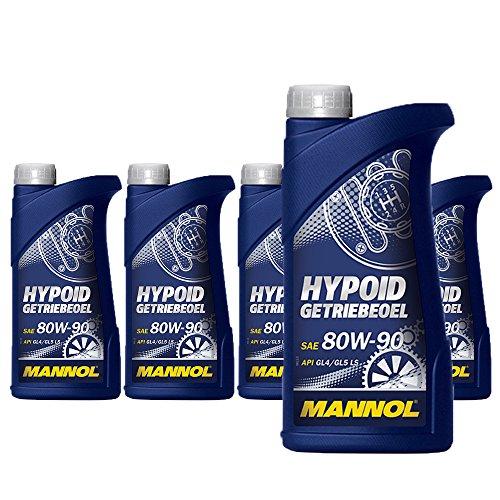 MANNOL 5 x 1 Liter, Hypoid Getriebeoel 80 W-90 API GL 4/GL 5 LS