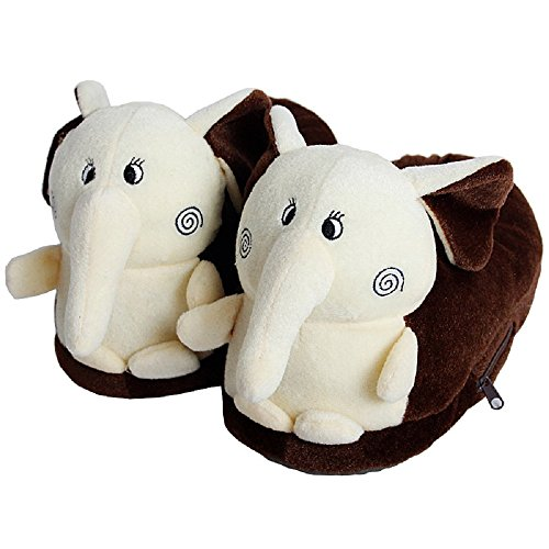 LyDecor Beautiful Elephant Unisex Child Soft Plush Slippers for Home Winterwarm Foot Protectors, Size 39
