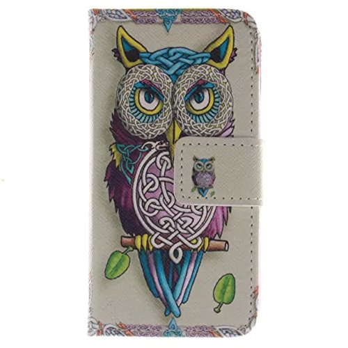 Price comparison product image For iPhone 4 / 4S Leather Flip Case Cover,Meet de Painted pattern PU Leather Stand Function Protective Cases Covers with Card Slot Holder Wallet Book Design,Soft TPU Silicone Inner Bumper Full Protection Cover Detachable Hand Strap for iPhone 4 / 4S-owl