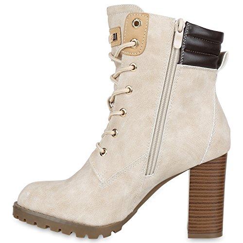 Damen Schnürstiefeletten Worker Boots Stiefeletten Block Absatz Nude