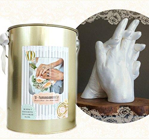 3d–paarhanda bdruck-set im goldenem secchio i regalo per matrimoni i handprint set per 2adulti mani, ad esempio per matrimonio la gente, innamorati, nonno e nonna, migliori amiche, fratelli ecc.