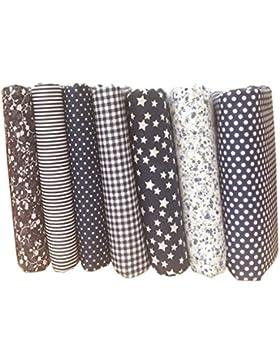 LUFA 7pcs algodón de tela de flores punto estrella DIY algodón acolchado paquete de tela para patchwork artesanías...