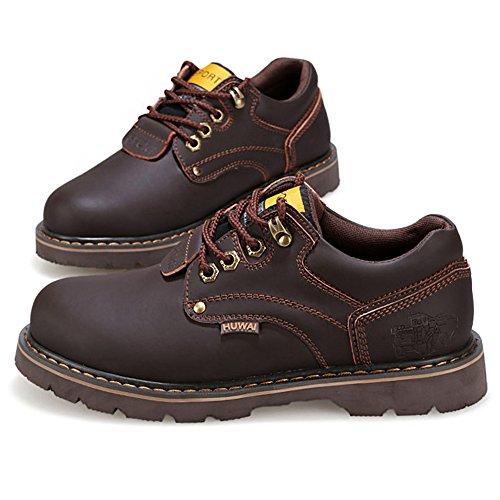 Rismart Hommes Cuir Véritable Chaussures à Lacets Industrie Chaussures de Travail 8566 Café
