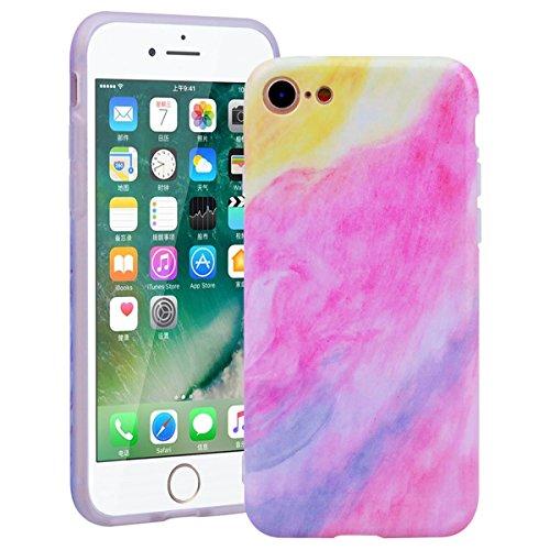 SMART LEGEND iPhone 7 Weiche Silikon Hülle Bumper Schutzhülle mit Farbe Marmor Muster Handyhülle Crystal Kirstall Clear Etui Ultra Slim Design Glatt Durchsichtig Weich TPU Handy Tasche Soft Case Marbl Rosa