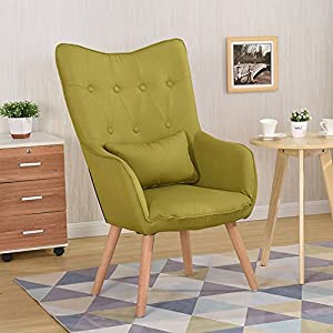 Warmiehomy Modern Occasional Chair Buttoned Linen Fabric Tub Chair Armchair for Bedroom Living Room Office Lounge…