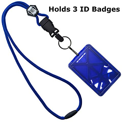 Top Loading THREE ID Card Badge Holder with Heavy Duty Lanyard w/ Detachable Metal Clip and Key Ring by Specialist ID, Sold Individually (One Holder / 3 Cards Inside) (Royal