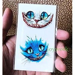 Etiqueta engomada del tatuaje temporal a prueba de agua pecho lindo gato kitty tatto pegatinas flash tatuaje tatuajes falsos tatouage para niñas mujeres niños-Azul
