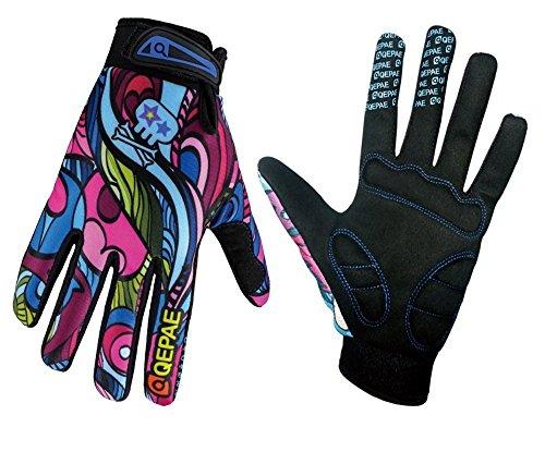 QEPAE® Atmungsaktiv Unisex Erwachsene Fahrradhandschuhe rutschfeste Half Finger und Full Finger Gel-Handschuhe für Fahrrad fahren Skifahren–Gorgeous Color Gorgeous Color (Full finger) L