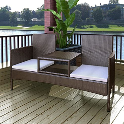 vidaXL 2-Sitzer-Bank mit Teetisch Gartenbank Gartenmöbel-Set Poly Rattan Braun - 2