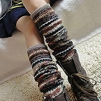 HuaYang New Fashion Women Winter Warm Long Leg Warmers Knit Crochet Socks Legging Stocking(Khaki)