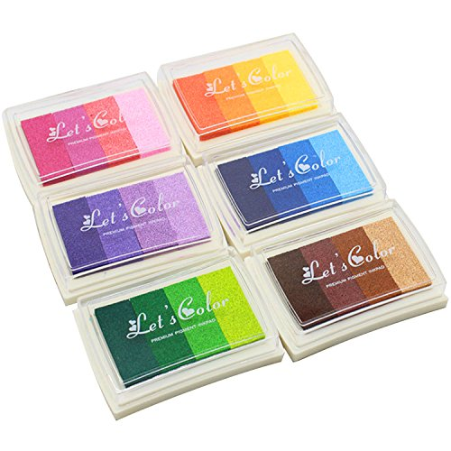 BEETEST 6Pcs Tinta para Huellas Arco iris gradiente de tinta de color InkPad impresión sellos artesanales para papel madera tela niños huella digital bricolaje pintura