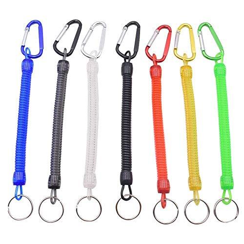 retchy Spiral Keyring mit Farbkarabiner, Spiral Retractable Coil Spring Schlüsselanhänger Diebstahlsicher Anti-Lost Stretch Cord Sicherheitsschlüsselring mit Metall für Schlüssel, ()