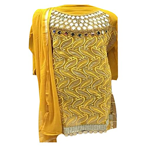 Ethnic Fashon Yellow COLOR LATEST INDIAN DESIGNER ANARKALI SALWAR KAMEEZ DRESS TOP-SEMI-STITCHED...