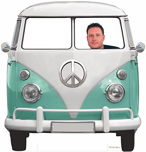 Photocall Coche Volkswagen Hippie 1,50x1,50cm | Photocall Divertido para Bodas, Cumpleaños, Eventos... | Photocall Furgoneta Volkswagen Resistente, Original, de Gran Calidad | Photocall que Contiene Dos Peanas para un Apoyo Excelente