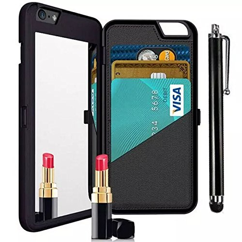 Vandot 2 in1 Exklusive Kreativ Make Up Mirror Spiegel Hülle Für iPhone 6 6S 4.7 Zoll Book Karte Card Slot Wallet Flip Fit Ultra Thin Dünn PU Leder Buch Muster Pattern Hart Hard Protektiv Case Skin Bac Mirror Schwarz