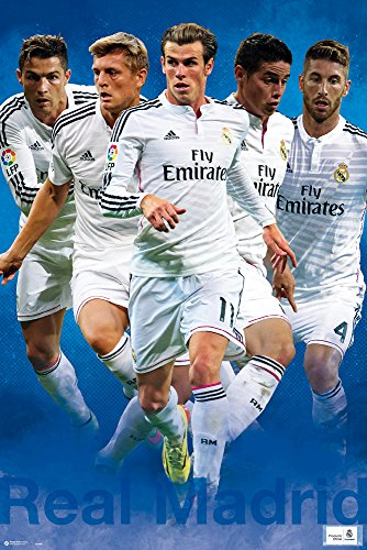 empireposter Real Madrid - Varios Jugadores 2014/2015 - Poster Plakat - Größe 61x91,5 cm + 2 St Posterleisten Holz 61 cm - Real Madrid 2014-poster