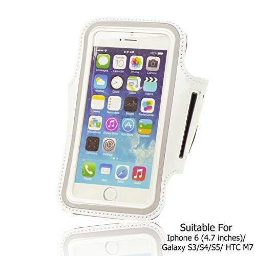 OBiDi - Sports Running Jogging Gym Armband Case Holder / Housse pour Apple iPhone 6 / 6S (4.7 inch)Smartphone - Blanc Blanc