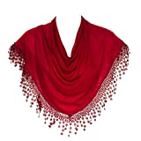 HatToSocks Triangle Scarf with Bobbin Lace Fringes for Women in Plain Colors
