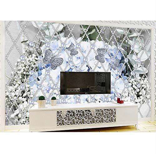 3D Wandbilder Perle Hydrangea Wohnzimmer Mosaik Fliesen Für Küche Backsplash Moderne Tapete, 380X260 Cm (149.61X102.36In) ()