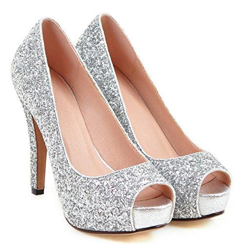 COOLCEPT Femmes Mode Slip On Talon Aiguille Escarpins Peep Toe Chaussures Argent