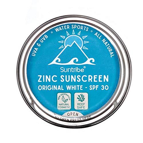 Suntribe Bio-Sonnencreme LSF 30 - Sport & Gesicht - 100% Zink - Riff freundlich/Reef safe - 3 Inhaltsstoffe - Wasserfest - ORIGINAL WEIß (45 g) - Feste Creme
