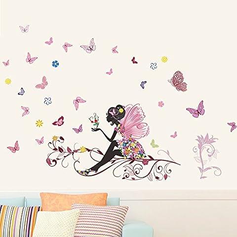 Wallpark Romántico Rosa Flor Hada Niña Liberación Mariposas Desmontable Pegatinas de Pared Etiqueta de la Pared, Sala Bebé Niños Hogar Infantiles Dormitorio Vivero Decorativas DIY Arte Murales