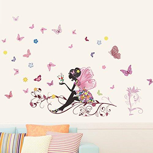 Wallpark Romantique Rose Fleur Fée Fille Libération Papillons Amovible Stickers Muraux Autocollants, Salon Enfants Chambre Pépinière DIY Décoratif Adhésif Stickers Mural