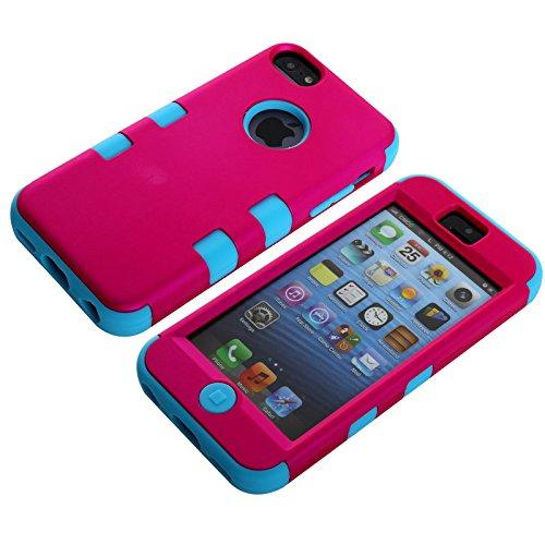 sibaina Étui pour téléphone portable Apple iPhone 55S 5C, Joli Vernis coloré en silicone 3en 1Housse étui coque rigide pour iPhone 5C Film de protection d'écran + Stylet, Silicone plastique, Rose Rose and Lightblue
