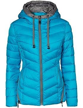 Chaqueta de invierno para Mujer, corta, acolchada, aspecto de plumón, Capucha, cuello, esquí, cremallera